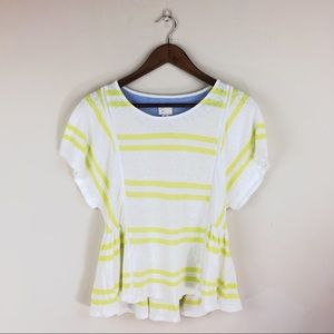 Yellow and white stripe Anthropologie top